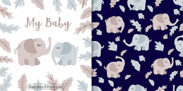 Cute baby elephant hand drawn card seamless pattern set