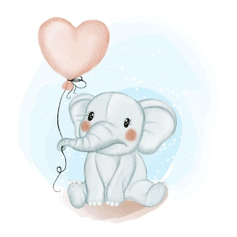 Cute baby elephant holding balloon love watercolor illustration