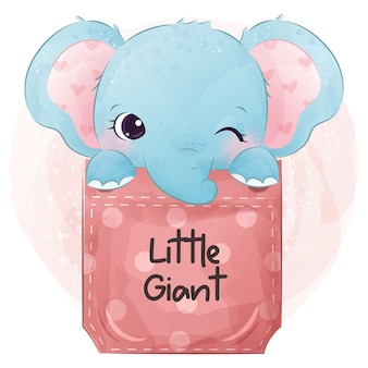 水彩でかわいい象の赤ちゃんのイラスト