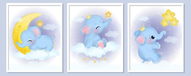Cute baby elephant illustration set