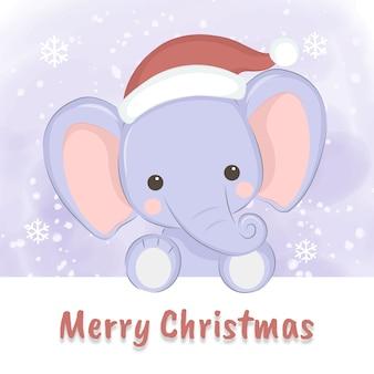 Cute baby elephant illustration