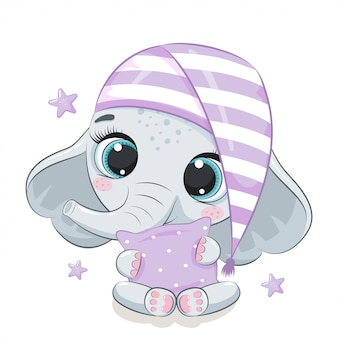 Cute baby elephant illustration.