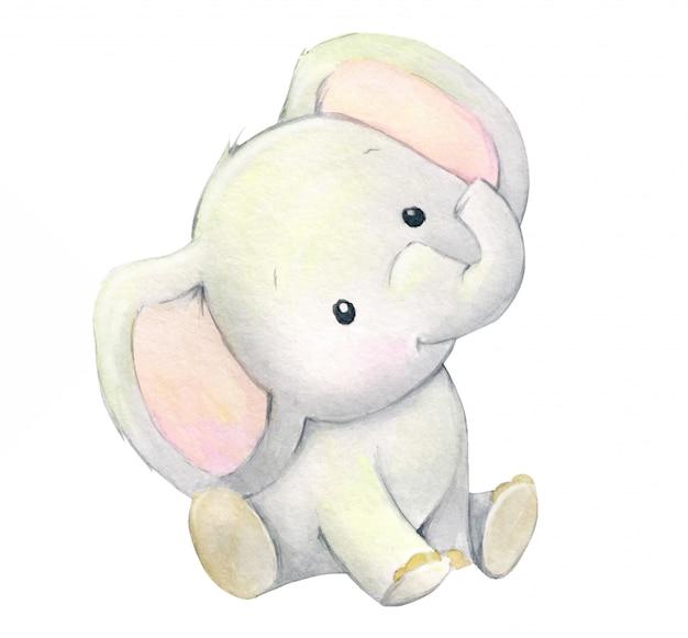 漫画のスタイルでかわいい象の赤ちゃん。子供の休日のための水彩画の動物。