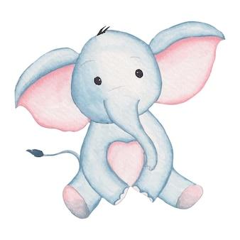 漫画風水彩手描きイラストでかわいい象の赤ちゃん