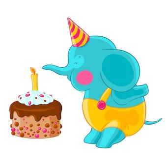Симпатичный слоненок в шляпе и брюках сдувает свечу на торт ко дню рождения.