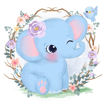 보육 장식 수채화 스타일의 귀여운 아기 코끼리