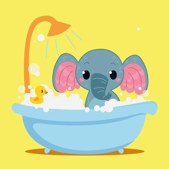 かわいい赤ちゃん象は浴槽で入浴しています子供動物の漫画のキャラクター