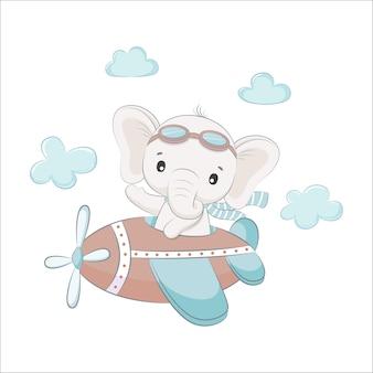 귀여운 아기 코끼리가 비행기를 타고 날아가고 있습니다. 만화 벡터 일러스트 레이 션.
