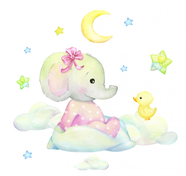 Cute baby elephant in pink pyjamas. clouds, duckling, moon, stars. watercolor drawing on an isolated background.