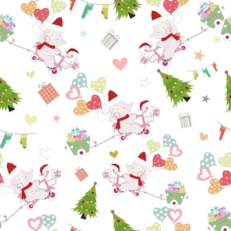 Cute baby elephant and rabbit on christmas seamless pattern.