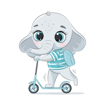 Cute baby elephant on the scooter.  illustration for baby shower, greeting card, party invitation, fashion clothes t-shirt print.