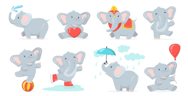 Cute baby elephant set Free Vector