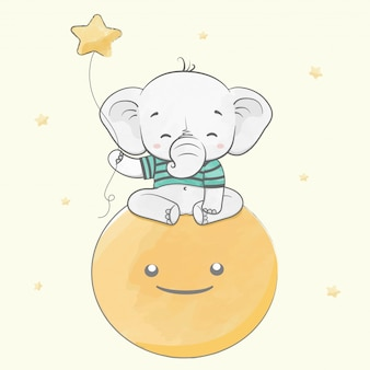 Cute baby elephant sit on the moon with stars water color cartoon hand drawn