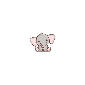 Cute baby elephant sitting cartoon icon