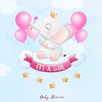 Cute baby elephant sitting in the cloud with watercolor illustration