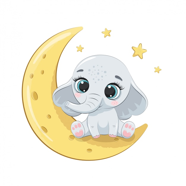 Cute baby elephant sitting on the moon.   illustration