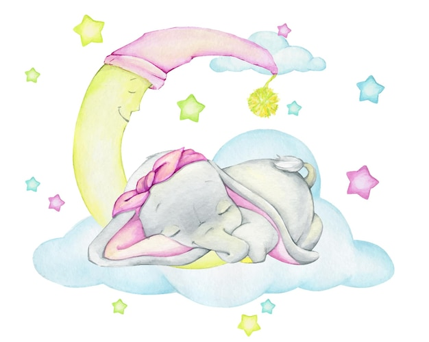Cute baby elephant, sleeping, against the background of the moon, clouds and stars. a watercolor clip, in a cartoon style.