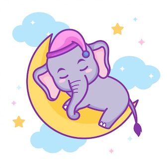 Cute baby elephant sleeping on the crescent moon