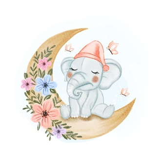 Cute baby elephant sleepy on the moon flower watercolor illustration