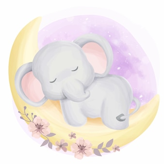 Cute baby elephant sleepy on moon