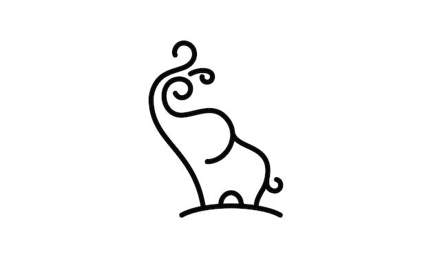 Cute baby elephant spraying water logo design