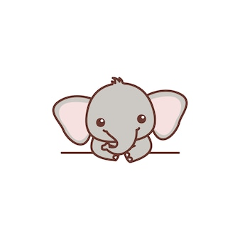 Cute baby elephant over wall cartoon