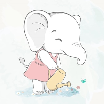 Cute baby elephant watering the flower water color cartoon hand drawn