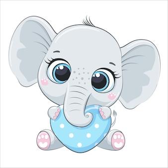 마음을 가진 귀여운 아기 코끼리입니다. 만화 벡터 일러스트 레이 션.