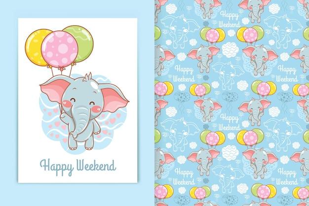 Милый слоненок с воздушным шаром иллюстрации шаржа и бесшовный фон набор