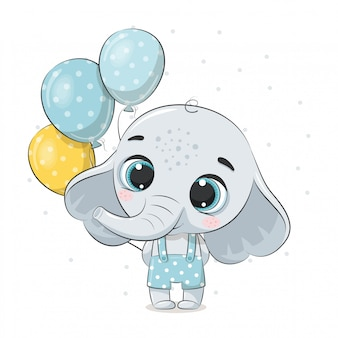 Cute baby elephant with balloons.  illustration for baby shower, greeting card, party invitation, fashion clothes t-shirt print.