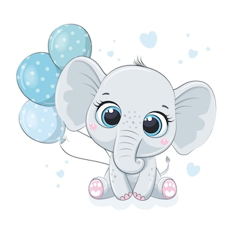 Cute baby elephant with balloons.