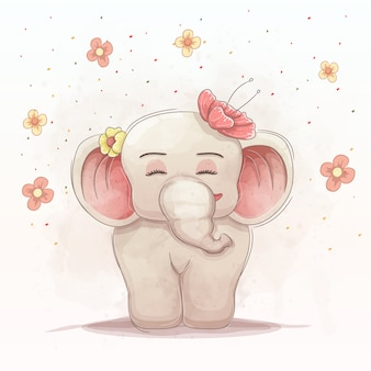 Cute baby elephant with beautiful flowers