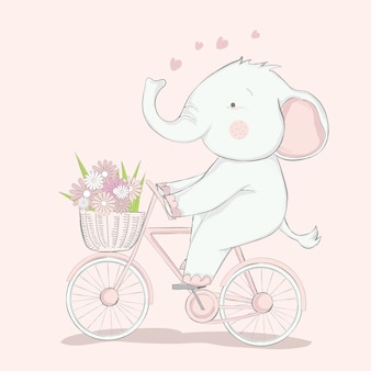 Cute baby elephant with bicycle cartoon hand drawn style