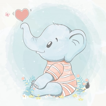 Cute baby elephant with bubble of heart water color cartoon hand drawn  illustration
