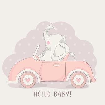 Cute baby elephant with car cartoon