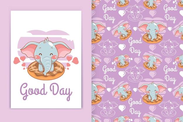 Милый слоненок с пончиками иллюстрации шаржа и бесшовный фон набор