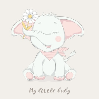 Симпатичный слоненок с цветком