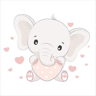 Cute baby elephant with a heart. cartoon illustration.