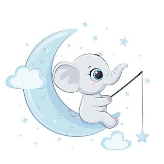 月と星のかわいい象の赤ちゃん。ベクトルイラスト