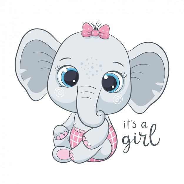 Cute baby elephant with phrase