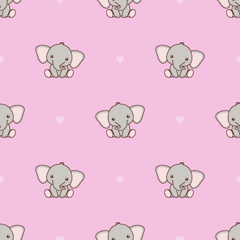 Cute baby elephant with pink heart seamless pattern