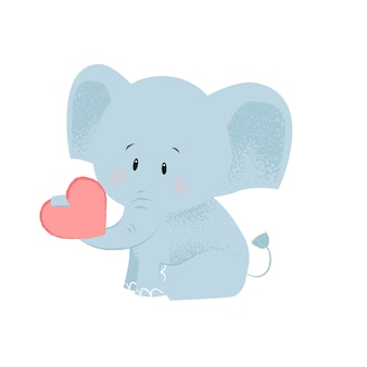 Cute baby elephant with red heart in trunk