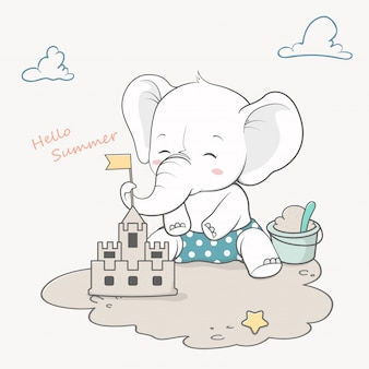 Cute baby elephant with sand castle hello summer