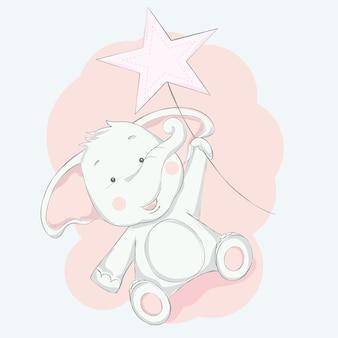 Cute baby elephant  with star cartoon hand drawn style