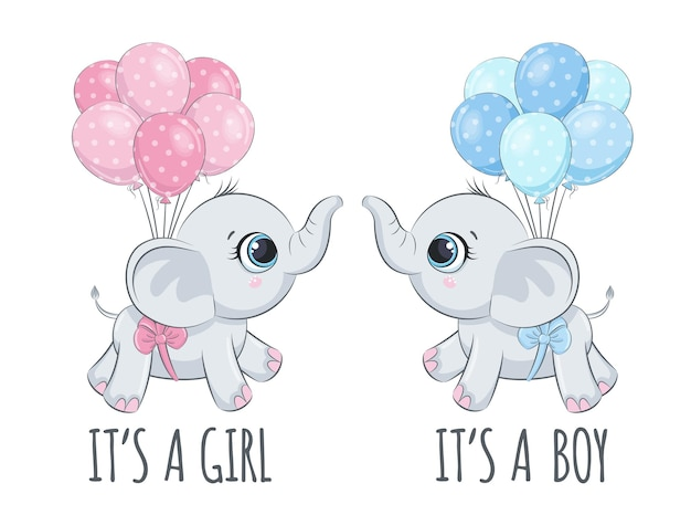Cute baby elephants with balloons phrase it's a boy , it's a girl.