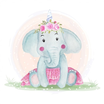 Cute baby elephants with flower crowns