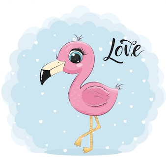 Cute baby flamingo.  illustration for baby shower, greeting card, party invitation, fashion clothes t-shirt print.