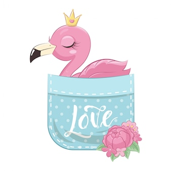 Cute baby flamingo in pocket.   illustration