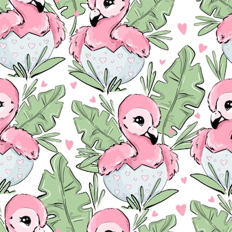 Cute baby flamingo sits in egg and tropical leaves seamless pattern