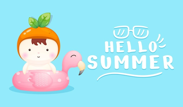 Cute baby on flamingo swimming buoy with summer greeting banner